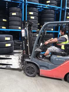 Double Coin warehouse worker on forklift-1