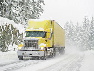 tractor trailer in snow